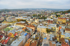 Lviv from a height, panoramic photo, tilt-shift. Stock Photography