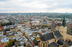 Lviv from a height, panoramic photo, tilt-shift. Royalty Free Stock Photography