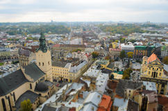 Lviv from a height, panoramic photo, tilt-shift. Royalty Free Stock Photo