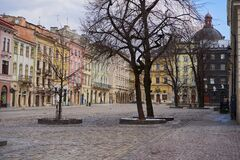 Free Lviv Is Empty, 23 March, 2019 Ukraine Lviv Antique Central Square Without People, Preventing A Virus Epidemic Royalty Free Stock Photography - 177314817