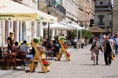 Lviv - Maj 9, 2015: Lviv - den historiska mitten av Ukraina, en cit Royaltyfri Foto