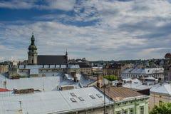 Lviv miasta budynków widok od dachu Zdjęcia Royalty Free