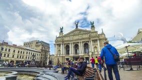 Lviv Nationaal Academisch theater van Opera en Ballet, Lviv, de Oekraïne stock footage