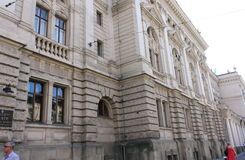Lviv nationell akademisk opera- och balettteater Krushelnytska Royaltyfri Bild