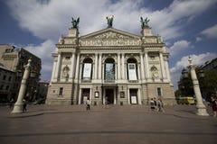 Lviv nationell akademisk opera och balettTheatre Arkivbild
