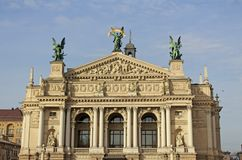 Lviv nationell akademisk teater av operan och balett Lviv Ukraina 04 11 2018 royaltyfri fotografi