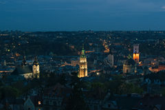 lviv nattsikt Fotografering för Bildbyråer