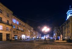 Lviv at night. Old beautiful street in Lviv city by night Stock Image