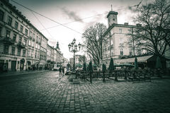 Lviv at night. Old beautiful street in Lviv city by night Royalty Free Stock Photography