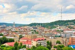 Lviv no dia nebuloso. Ucrânia Foto de Stock Royalty Free