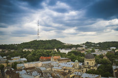 Lviv old city panorama view. In cloudy weather royalty free stock image