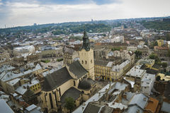 Lviv old city panorama view. In cloudy weather stock photography