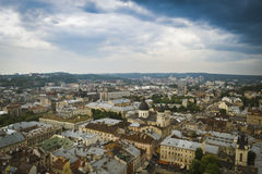 Lviv old city panorama view. In cloudy weather stock image