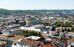 Lviv old city vintage panorama with houses roofs top view, Lviv, Ukraine. Stock Photo