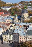 Lviv old town. Rynok square and Dominican church (St. Eucharist church), Lviv, Ukraine royalty free stock image