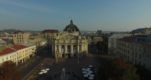 Lviv Opera. Aerial Old City Lviv, Ukraine. Central part of old city. European City. Densely populated areas of the city. Town hall stock footage