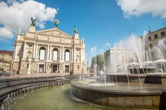 Lviv Opera and Ballet Theater Stock Photography