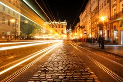 View of the night street of the European medieval city. stock photo