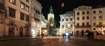 Lviv panorama at night. View of the night street of the European medieval city. royalty free stock image