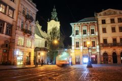 Lviv panorama at night. View of the night street of the European medieval city. royalty free stock photography