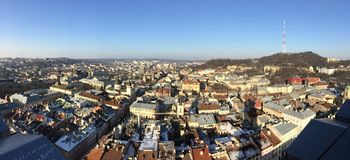 Lviv panorama from the Ratusha. Panorama of the Lviv city from the Ratusha Stock Photo