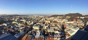 Lviv panorama from the Ratusha. Panorama of the Lviv city from the Ratusha stock photo