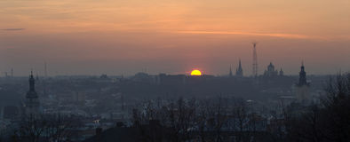 Lviv panorama at sunset Royalty Free Stock Images