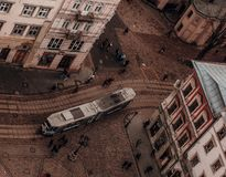 Lviv panoramaspårvagn royaltyfri fotografi