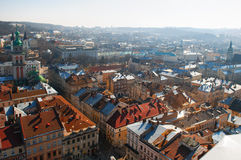 Lviv panoramic bird's-eye view of from of the city centre in Ukr Stock Photo