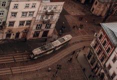 Lviv panoramy tramwaj zdjęcia stock