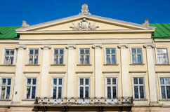 Lviv regional administration building with columns, windows and balcony on a sunny day.  Stock Photo