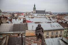 Lviv roofs from high point Stock Images