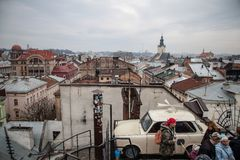 Lviv roofs from high point Stock Photo