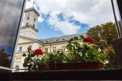 Lviv stadssikt, stadshus, panorama av det historiska centret, semester arkivbild