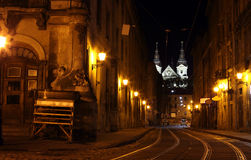 Lviv Street By Night Stock Images