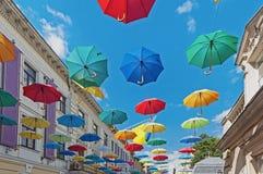Lviv street decorated with umbrellas in Ukraine Stock Photo