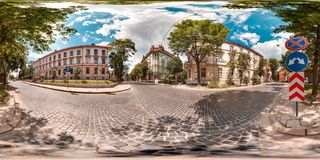Lviv - summer, 2018: 3D spherical panorama with 360 degree viewing angle. Ready for virtual reality in vr. Full equirectangular pr royalty free stock image