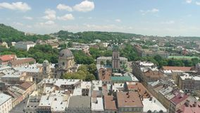 Lviv in summer. Town, nature and sky. Cultural capital of ukraine stock video footage