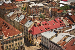 Lviv at summer, view from city hall Stock Photography