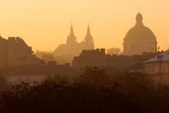 Lviv at sunrise Royalty Free Stock Photos
