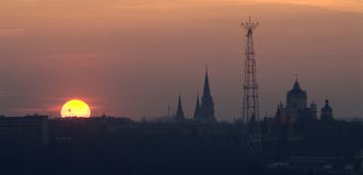 Lviv top view at sunset Stock Images