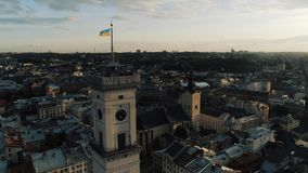 Lviv town hall at sunset aerial stock footage