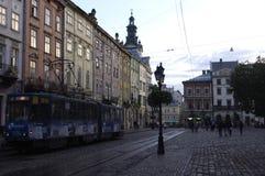 Lviv. Tram after the rain Royalty Free Stock Photos