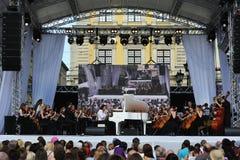 Lviv, Ucrânia - em junho de 2016: Alfa Jazz Fest 2016 Faixas dos músicos imagem de stock