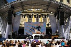 Lviv, Ucrânia - em junho de 2016: Alfa Jazz Fest 2016 fest de abertura do jazz fotos de stock royalty free