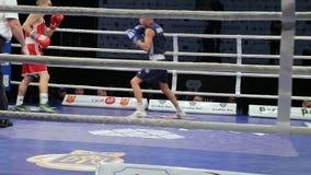 LVIV, UCRÂNIA - 14 de novembro de 2017 competiam de encaixotamento Os pugilistas de pouco peso lutam no anel de encaixotamento no video estoque