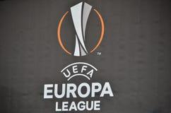LVIV, UCRÂNIA - 20 DE OUTUBRO: Logotipos e emblemas da liga c do Europa Fotos de Stock