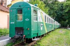 Lviv, Ucrania - agosto de 2015: Los carros ferroviarios del tren breeze en los niños ferroviarios en el parque de Striysky en Lvi Foto de archivo