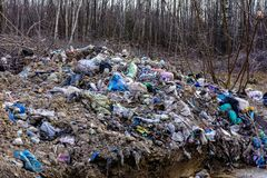 LVIV, UCRANIA - 30 de abril de 2019: Basura ilegal en bosque de la primavera, cat?strofe ecol?gica a gran escala adentro fotos de archivo libres de regalías