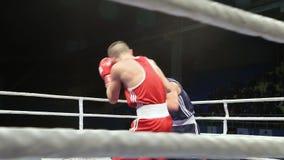 LVIV, UCRANIA - 14 de noviembre de 2017 torneo de encajonamiento Lucha ligera de los boxeadores en ring de boxeo en el torneo almacen de video